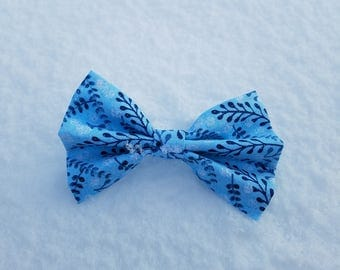 Blue Sparkles with Twigs and Berries Dog Bow Tie - Christmas/Holiday/Winter Collection