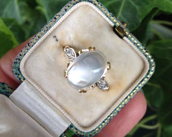 COUPON SALE: Vintage Antique Art Deco Moonstone Diamond 14k Gold Ring