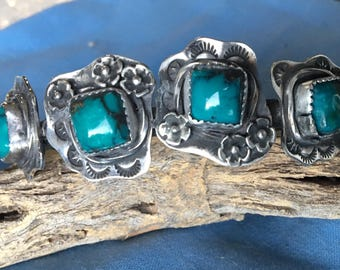 Sterling silver natural Turquoise four stone cuff bracelet