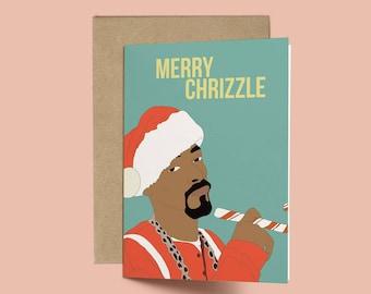 Snoopy Dog, Merry Chrizzle Funny Christmas Card (Anniversary Card. Love Card, XMAS Card, Destiny's Child, Beyonce)