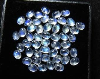 High Quality Rainbow Moonstone Blue Fire Cabochon oval Size 3x4 mm- 50 pcs 10.00 Crts