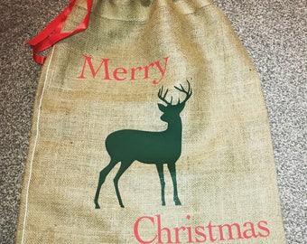 Hessian Christmas sacks, personalised christmas sacks, stag christmas sack, merry christmas, sack for presents