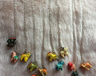indian animals charm pendant necklace, tiny animals, cats and horses