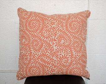 "Orange Leaves Printed Linen Pillow 22"""