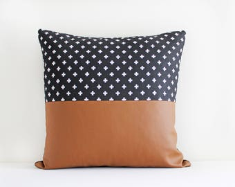Faux Leather and black swiss cross (Pillow Cover Only)