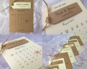 Hand Crafted Personalised 'Amelia' Wedding Save the Date Sample Rustic Vintage Twine