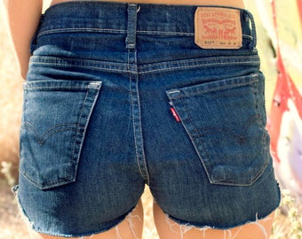 Levis High waisted shorts Denim Jean frayed distressed all sizes
