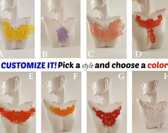 Custom Lace necklace Additional colors Lace jewelry Embroidered Necklace Embroidered Jewelry Custom necklace Bib Necklace Statement necklace