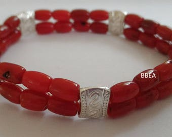 Double bracelet with coral beads/barrel and Tibet silver separations