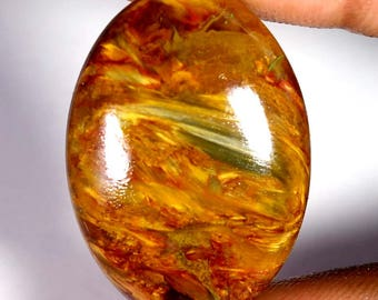 28.25 Cts.Gorgeous A+++ Golden Pietersite Oval Cabochon Loose Gemstone 22X31X05 MM (RS82-10)