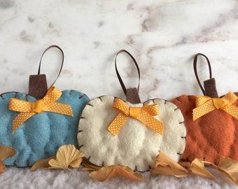 Pumpkin Ornament Set, Orange, Blue, White, Handmade Felt, Autumn, Fall, Thanksgiving, Hostess gift