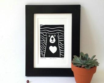 Linocut bear, bear print, bear linoprint, linocut print, art postcard, nursery wall decor, forest friend, woodland bear, teddy bear print