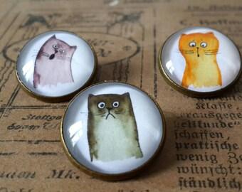 Cat brooch, set of 3, cat illustration, cat art, cat jewelry, cat pin brooch, cat cabochon brooch, cat accessory, kawaii cats, cat badge