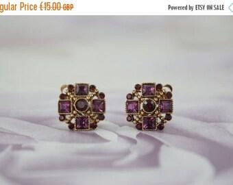 20% OFF Purple Glass Clip On Earrings - Faux Amethyst Earrings - Faux Garnet Earrings - Gold Tone Clip Ons - Celtic Style Earrings