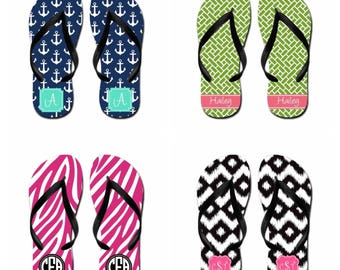 Personalized Flip Flops w/ Black Bottom & Straps (kids) - Free Shipping!