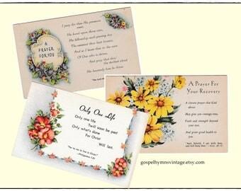 Vintage Prayer Post Cards, Unmailed, Christian Scripture, Floral Ephemera