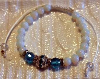 Cute Opal & Crystal-beaded bracelet; handmade, shamballa, white, blue, silver, beautiful, casual-wear, party-wear