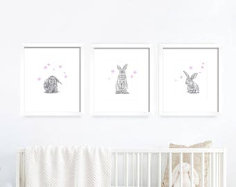 Bunnies, Flowers Nursery Set. Kid's Room. Kid's Decor. Baby's Room Print. Baby Decor.Baby Animal. Baby Rabbit. Nursery Animal. Nursery Print