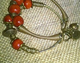 Original bracelet-antique bronze and wooden beads.