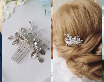Leaf hair comb Crystal hair comb Leaf hair piece Bridal hair comb Bridal hair piece Bridal headpiece