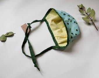 "Addison Bonnet•0-12 M•17""•baby bonnet•sun•warm hat•winter baby•girl•photo prop•accessory•flower•cotton bonnet•toddler•spring•summer•boho•vin"