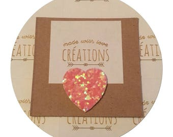 """✨✨Mettez glitter in your life with coral glitter fabric """"heart"""" brooch"""