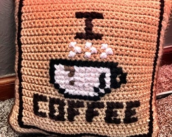 Coffee Pillow, Crochet Coffee Pillow, Decorative Coffee Pillow