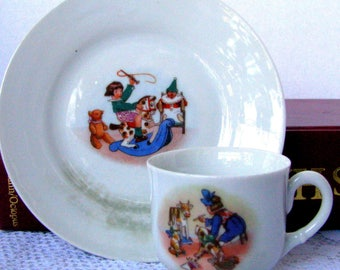 German Antique Nursery Toy Scene Demitasse Cup and Saucer, Childrens Teacup Set, Nursery Tea Set, Rocking Horse Tea Cup Set Circa 1800s
