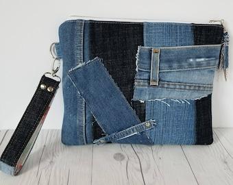 Denim Clutch Purse, Clutch Bag, Clutch Wristlet, Clutch handbag, Jean Purse, Upcycled bag, Floral Print, Gift for women, Birthday Gift