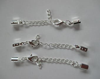 3 clasps, chain of Extension, silver metal.
