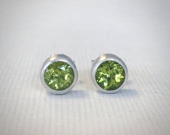 Peridot Stud Earrings - Sterling Silver - Modern Earrings - Silver Earrings - August Birthstone - Gift for Her - Handmade Earrings