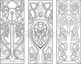 Coloring Bookmark Armor Sword Shield Pattern Page PDF