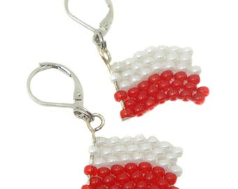 Earrings - Poland flag - football World Cup-EM - fan article (BS-1192)
