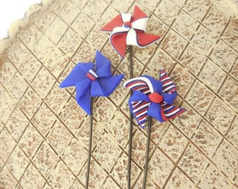 20% Off Storewide Miniature Pinwheels, Tiny Red White Blue Pinwheels, 4th of July Decorations for Fairy Garden, Dioramas, Independence Day,