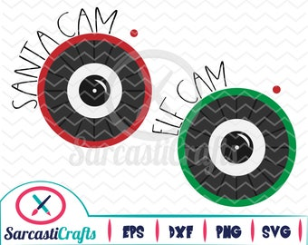 Santa & Elf Cam - Christmas/Holiday Graphic - Digital download - svg - eps - png - dxf - Cricut - Cameo - cutting machine files