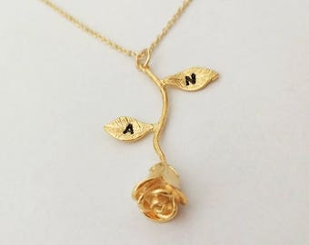 Golden Rose Necklace, Personalized Initial,Rose charm, Golden ROSE Necklace for BFF ,Valentine's Day gift, gift for her,Mom,Sister