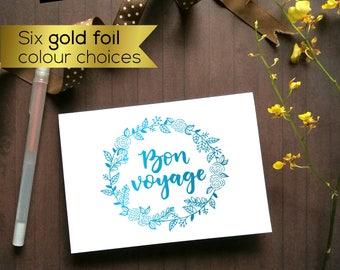 Goodbye card, Bon Voyage card, farewell card. Farewell gift, moving away card. Gold foil card, holographic silver card