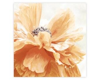 Rustic Flower Art, Rustic Floral Art, Rustic Bathroom Decor, Modern Flower Wall Decor, Modern Floral Wall Art, Abstract Orange Poppy