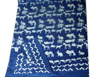 Handmade block print ajarak vegetable dye QUEEN size ajarak bedsheet 019