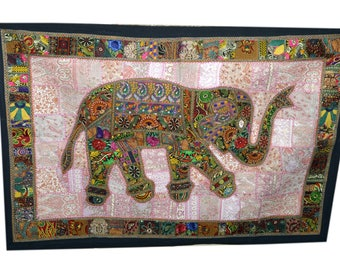 Decoraitve Elephant Work Wall Hanging Traditional Embroidery Design Tapestry 002