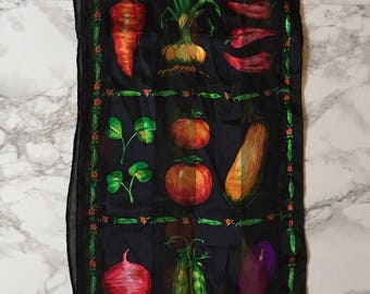 20% OFF SALE... Bill Blass silk scarf / 80s veggie print silk scarf