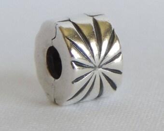 """Authentic Sterling Silver Pandora """"Sunburst Clip"""" Charm #790210"""