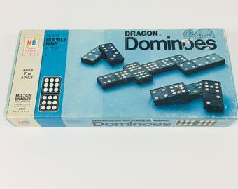 Dragon dominoes 1970 by Milton Bradley Co,vintage double nine dominoes, retro games, gifts for him, gifts for dad, black and white dominoes