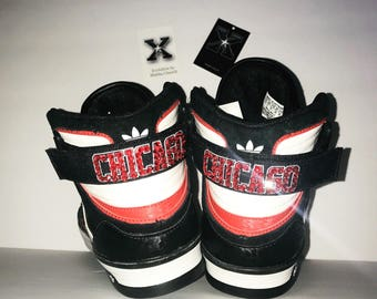 Chicago Bulls Adidas High Top Sneaker detailed w/Swarovski crystals