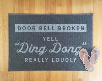 Funny welcome mat, funny front door mat, indoor rug, outdoor rug, doorstep mat, welcome rug, housewarming gift, grey rug, grey mat, carpet