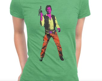 Han Shot First 'Episode I - Dagobah' Ladies T-shirt (Andy Warhol Elvis Pop Art Star Wars Parody)