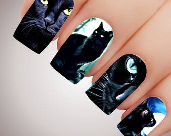 BLACK CAT BEAUTY - Halloween Witch Witchcraft Full Nail Decal Water Transfer Tattoo #5212