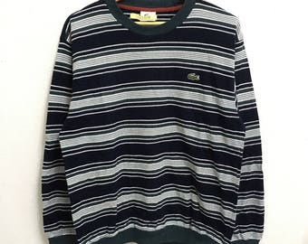 RARE!!! LACOSTE Small Logo Embroidery Crew Neck Stripes Colour Sweatshirts Hip Hop Swag M Size