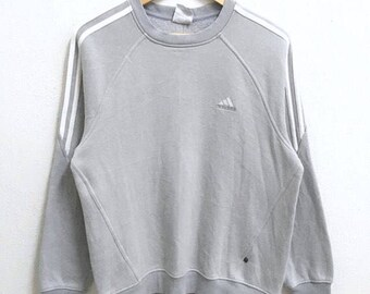 RARE!!! Adidas Equipment Small Logo Embroidery Crew Neck Light Grey Colour Sweatshirts Hip Hop Swag M Size