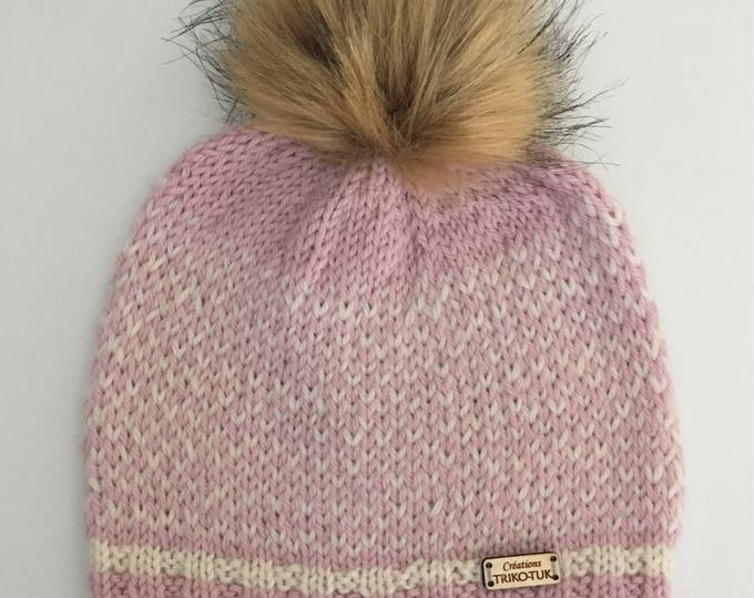 X-Small girl wool with synthetic fur Pom Pom Hat